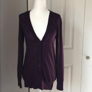 Ann Taylor Loft Purple Wool Blend Cardigan - S